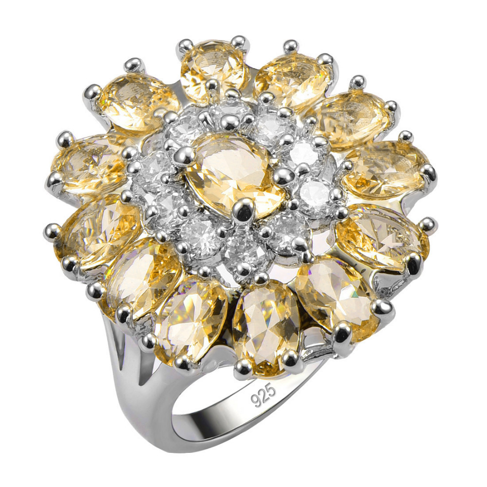 Hot Sale Exquisite Yellow Crystal Zircon 925 Sterling Silver Good Quality Ring Beautiful Jewelry Size 6 7 8 9 10 11 12 F1551