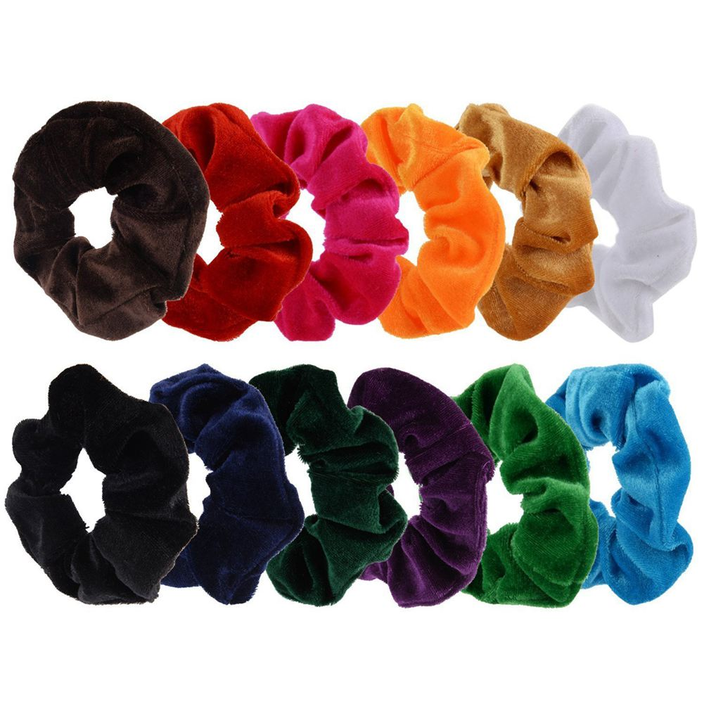 Women's Hair Accessories Responsible Lbfs-12 Paquete Pelo Scrunchies Terciopelo Scrunchy Bobbles Bandas Elásticas Del Pelo 12 Colores