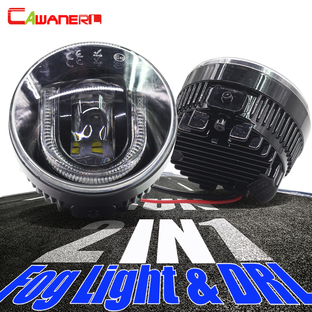 Cawanerl For Dacia Acura Lincoln Honda Subaru Citroen Lincoln Porsche Car Styling LED Bulb Fog Light DRL Daytime Running Lamp
