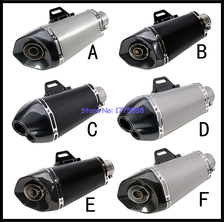 Universal 51mm Inlet Motorcycle Exhaust Muffler Pipe Carbon Fiber and Stainless Steel Motorbike Exhaust Tailpipe Escape Mufflers motorcycle exhaust pipe muffler inlet 51mm 61mm sc gp escape exhaust mufflers carbon fiber exhaust pipe with sticker laser logo