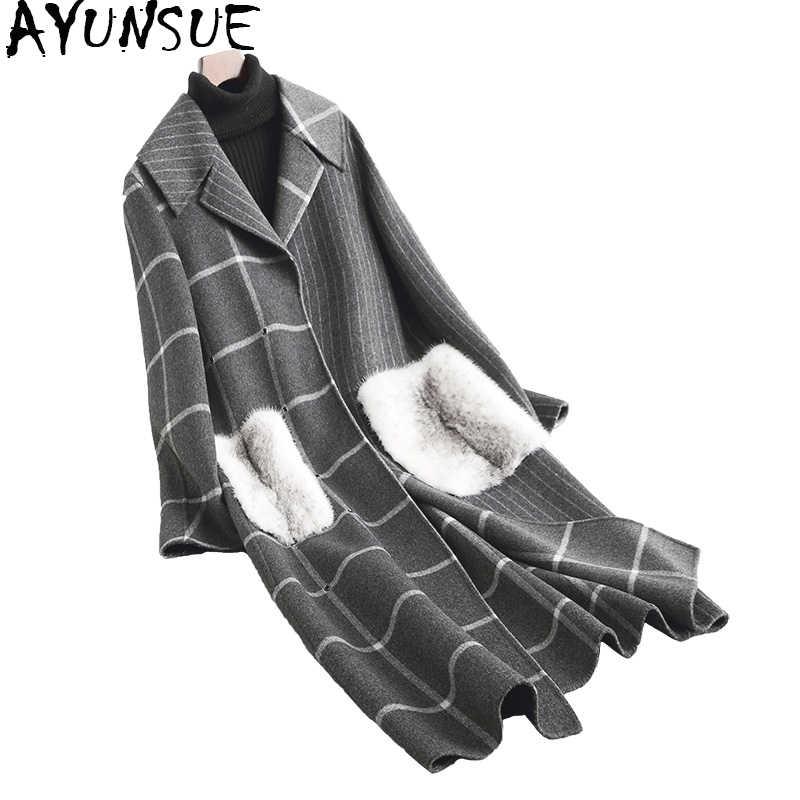 AYUNSUE роскошное Женское шерстяное пальто, длинное женское клетчатое пальто, натуральный мех норки, карманы, зимние куртки, шерстяное пальто 38025 WYQ1777