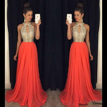High Neck Sleeveless Prom Dress 2019 New A-line Long Formal P arty Gowns Beaded Evening Cuseom made