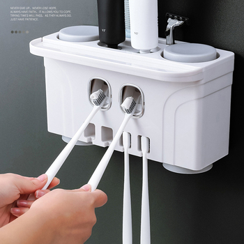 держатель зубной щетки настенное крепление | 1 комплект аксессуары зубная щетка для ванной комнаты Держатель автоматический держатель для зубной пасты настенный держатель для ванной к...