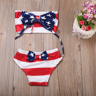 2Pcs Infant Kids Baby Girl Swimsuit Swimwear Bathing Suit Tankini Bow Bikini Set