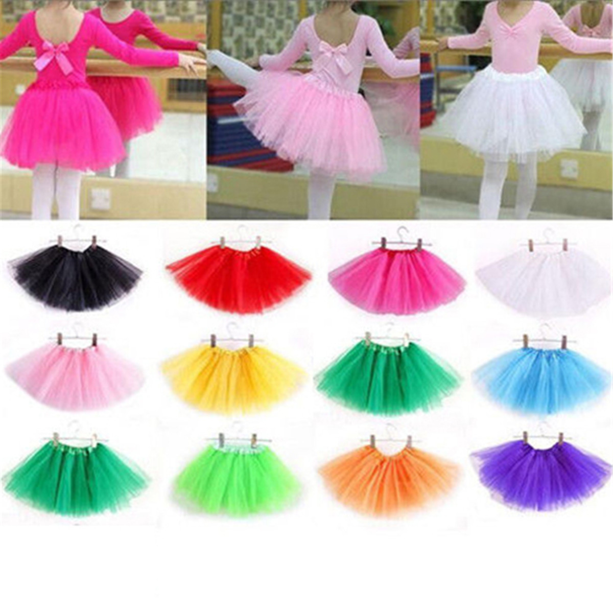 Lovely Fluffy Soft Tulle Baby Kids Dance Tutu Skirt For Girl Sequin 3 Layers Tulle Toddler Pettiskirt Children Dance Skirt