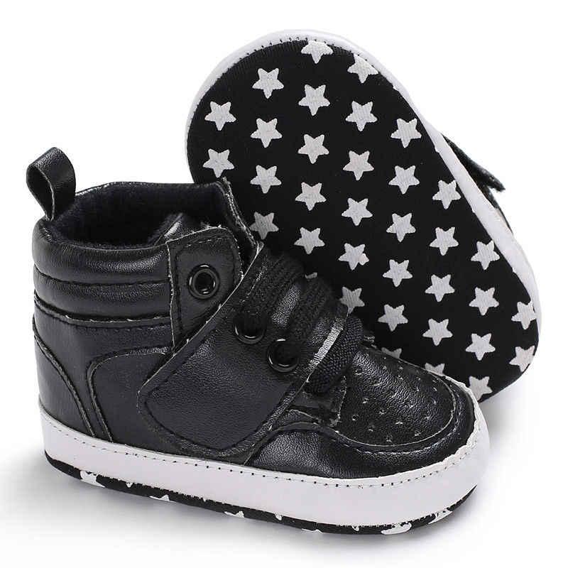2018 ยี่ห้อใหม่ทารกแรกเกิด Baby Boy เด็กอ่อนรองเท้ารองเท้า Anti-slip รองเท้าผ้าใบ PU Breathable first Walkers 0-18M