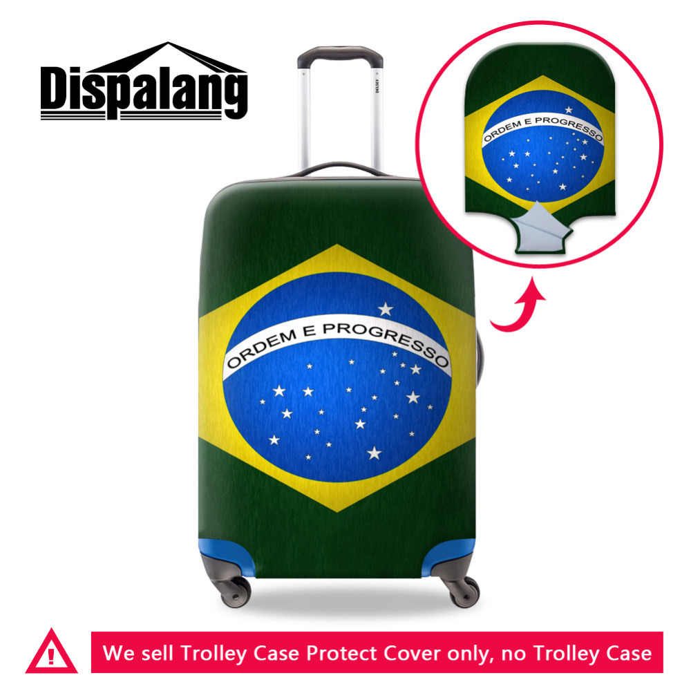 Country Brazil Flag Elastic Stretch Travel Luggage Protective Cover For 18 to 30 Inch Suitcase Waterproof Trolley Case Cover