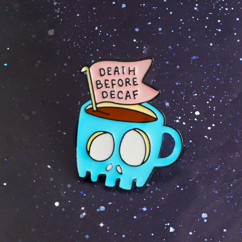 Coffee Shop Halloween Souvenir Gift For Friends Blue Skull Skeleton Coffee Tea Cup DEATH BEFORE DECAF Enamel Brooches Lapel Pins image
