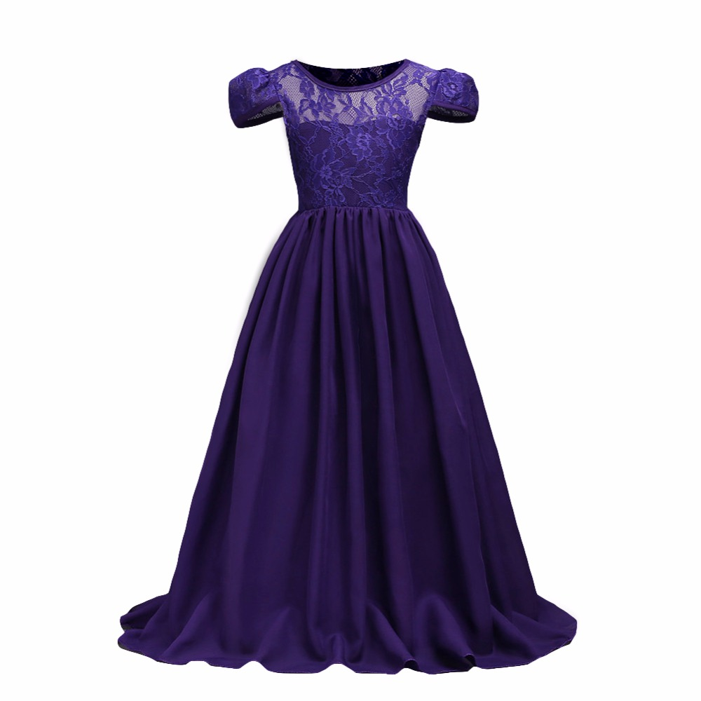 7-15Y Teenager Vestido Lace Flower Girl Dresses Princess Pageant Wedding Bridesmaid Birthday Party Dress Ball Gown  dresses 2017 new flower embroidery girl dresses pageant party wedding bridesmaid ball gown prom princess long dress girl clothes