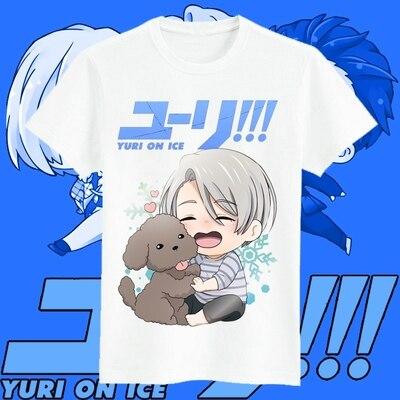 Free Shipping YURI!!! on ICE Yuri Victor Katsuki Yuri Men Women Short T Shirt Modal Casual Anime Cosplay