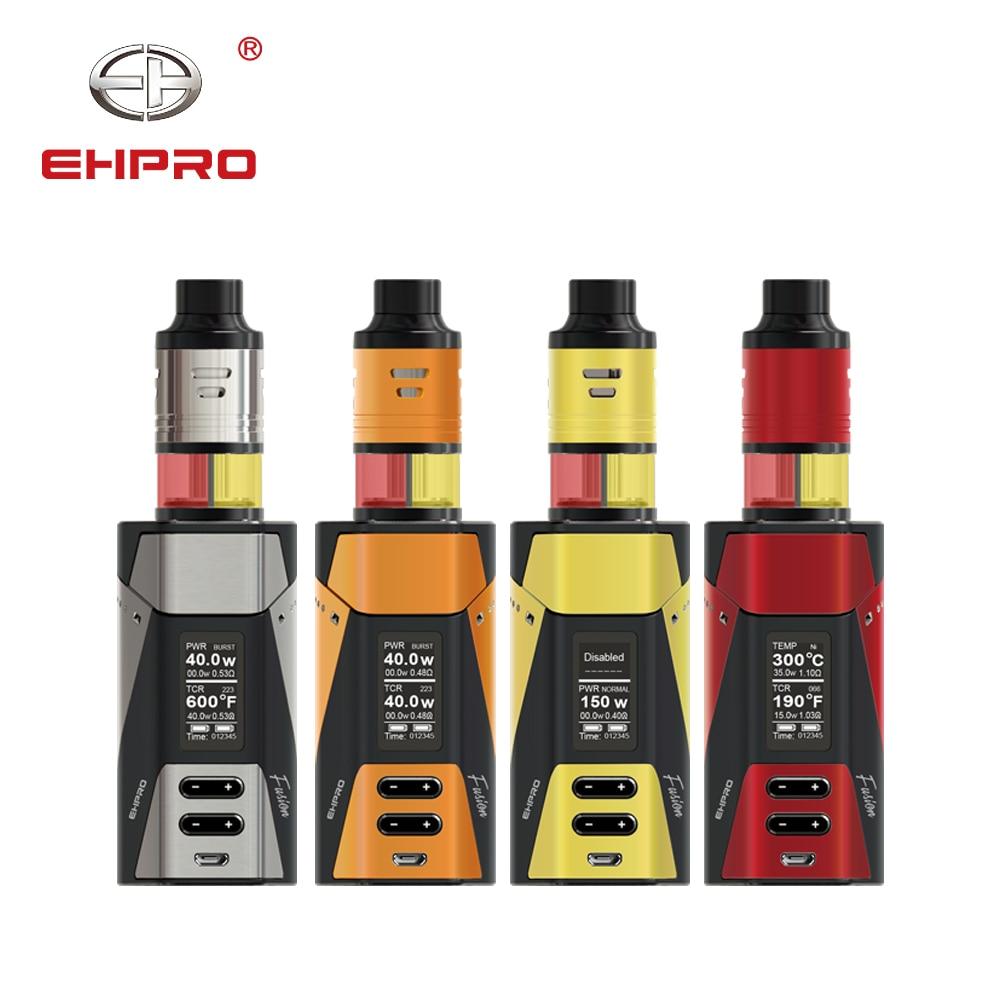 Kit de boîte Ehpro 2-en-1 Fusion 150 W TC Fusion Mod & Fusion RTA réservoir 510 filetage externe double batterie 18650 e-cig Kit Vape