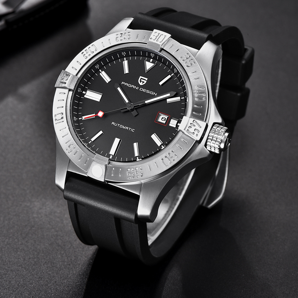 PAGANI DESIGN New Brand Luxury Men's Classic Rubber Strap Mechanical Watches Fashion Casual Waterproof 30M Automatic Watch saat(China)