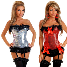 Decorative shine flake sexy Floral print corset women show charming figure breast care corset training corset gothic corset
