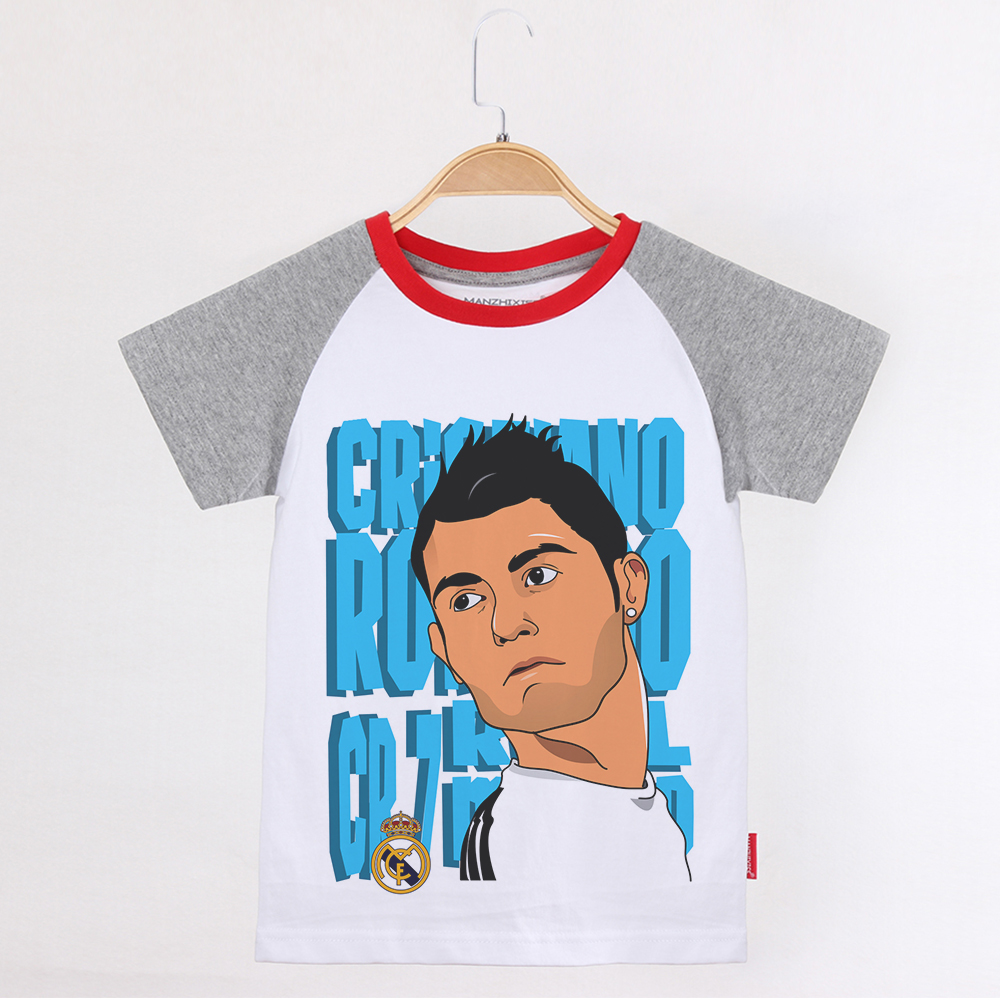 various colors 8a2e1 780ac US $10.88 27% OFF Child T shirt Boy Cotton Short Sleeve Shirt Tootball  Ronaldo T shirts Kids Clothes Brands Boys Baby Tops Children Clothing  2019-in ...