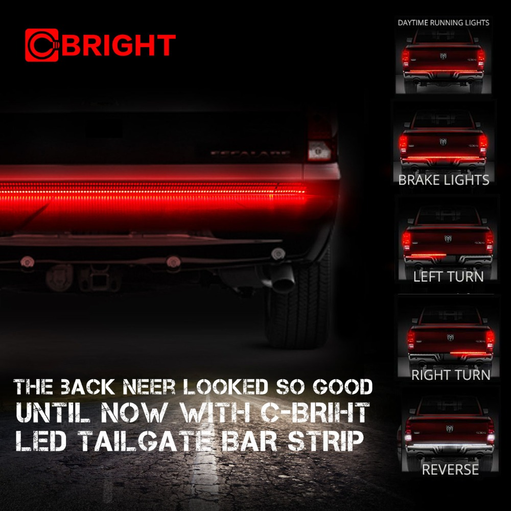 "49/"" Long 6 Functions Full LED Rear Brake Truck Tailgate Light Strip Bar"