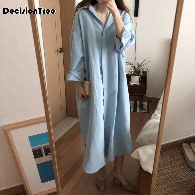 2019 new stripe polka dot sexy women   sleepshirts   100% brushed cotton fresh simple   nightgowns   women sleepwear nightdress night
