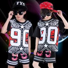 c742115a306a3 Moda Boy Girl hip hop danza moderna Jazz hip-hop trajes 2 unids ropa niños  niño hip hop danza trajes