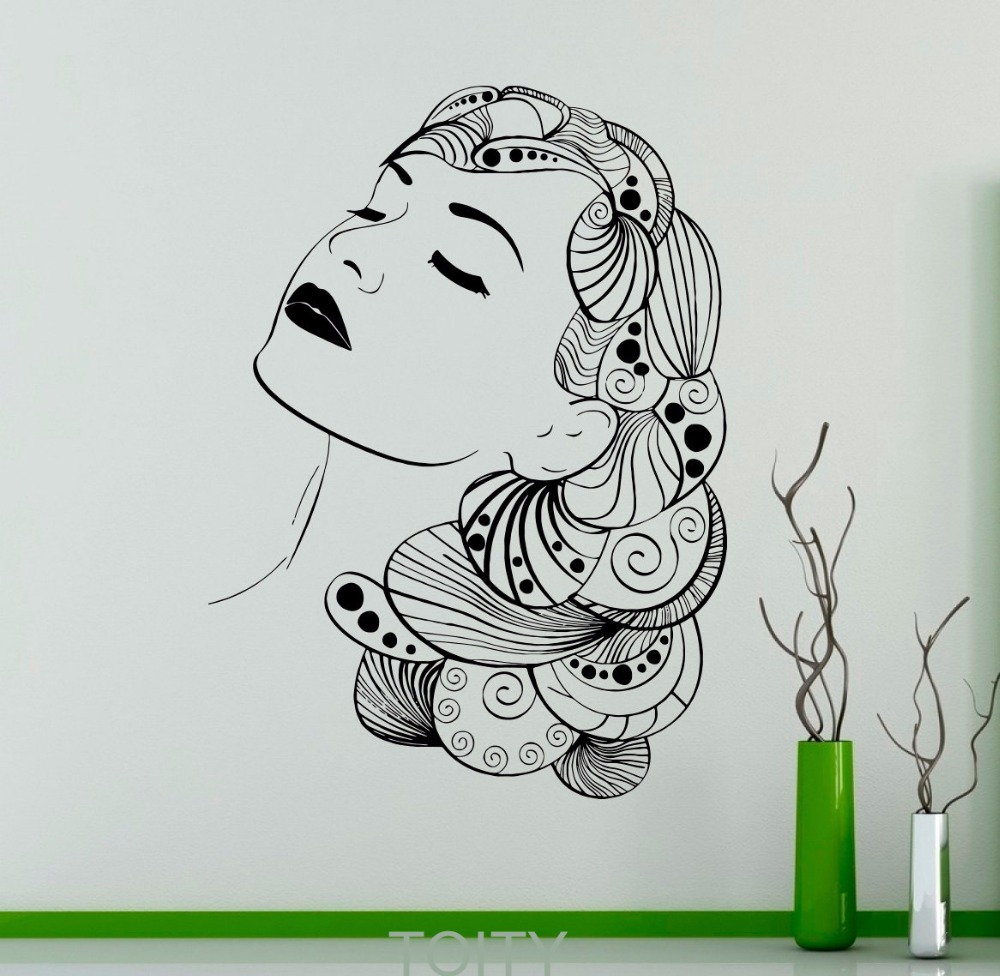 Hair Salon Wall Sticker Beauty Care Vinyl Decal Spa Shop ...