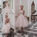 Long Sleeve Wedding Dresses Vestidos Modest Pink Tulle Sheer Applique Lace Tea Length Backless Beach Bridal Gowns