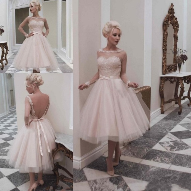 d6f23df8e627 Long Sleeve Wedding Dresses Vestidos Modest Pink Tulle Sheer Applique Lace  Tea Length Backless Beach Bridal Gowns