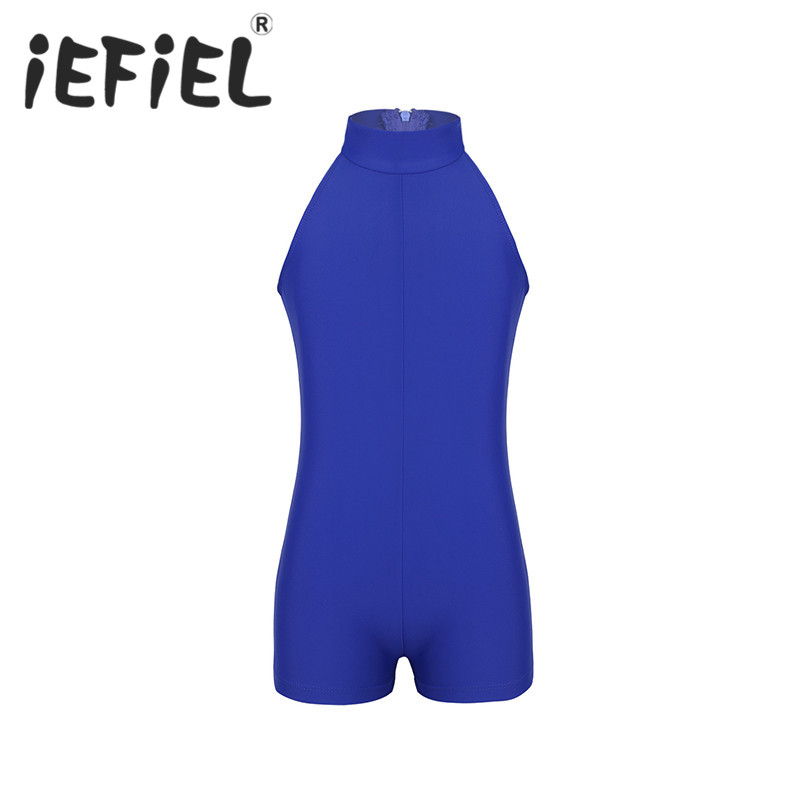 iEFiEL 3-12 Years Kids Girls Children Mock Neck Zippered Back Ballet Dance Tutu Dress Gymnastics Jumpsuit Unitard Dancewear