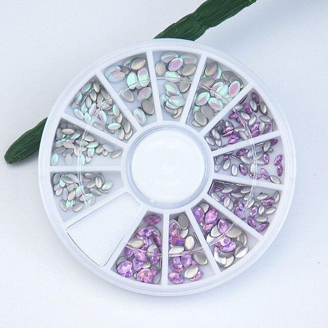 Nail Art Wheel Ab Rhinestones Crystal Gems Acrylic Oval Stickers