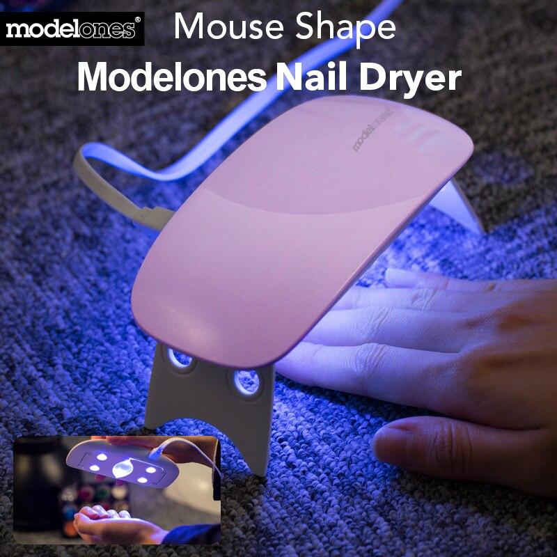 Modelones SUNmini 6 w Ha Condotto La Lampada UV Essiccatore Del Chiodo Protable Cavo USB Ha Condotto La Lampada Per Unghie di Curare Tutti I Gel Del Chiodo 45 s/60 s Timer Essiccatore Del Chiodo