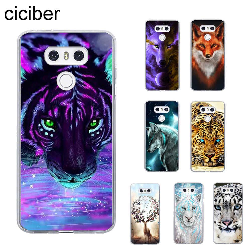 Ciciber tigre león cubierta para LG G6 G7 G5 G4 V30 V35 V40 THINQ TPU para LG K10 K8 K7 k4 2017 2018 K9 K11 más casos de teléfono TPU suave