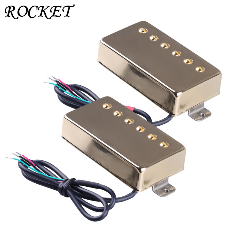 Guitar Pickup Humbucker Gold Double Coil Pickups Electric Guitar Parts Accessories Bridge &Neck &Set-HLC5 belcat electric guitar pickups humbucker double coil pickup guitar parts accessories bridge neck set alnico 5 gold