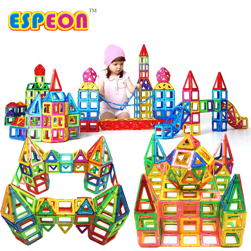 Espeon 164 PCs Regular Size Castle Magnetic Building Blocks Enlighten Educational Construction Bricks Toys for Children espeon 214 pcs mini castle magnetic blocks building blocks kits 3d construction designer set children diy educational kids toys