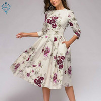 Ameision Summer Party Dress Women Elegent Floral Print Half Sleeve Midi Dress Vintage O Neck Party Dresses Vestidos With Pocket