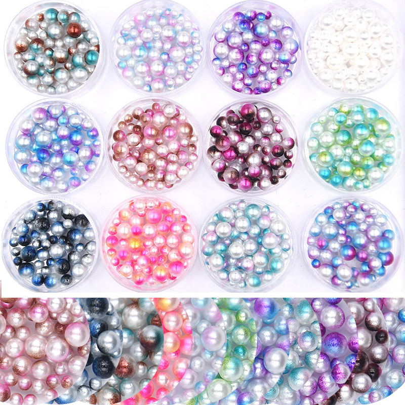 12 Colors 3d Round Acrylic Pearl Nail Art Beads Mermaid Gradient Nail Art Decorations Nail Accessories Charms Jewelry DIY