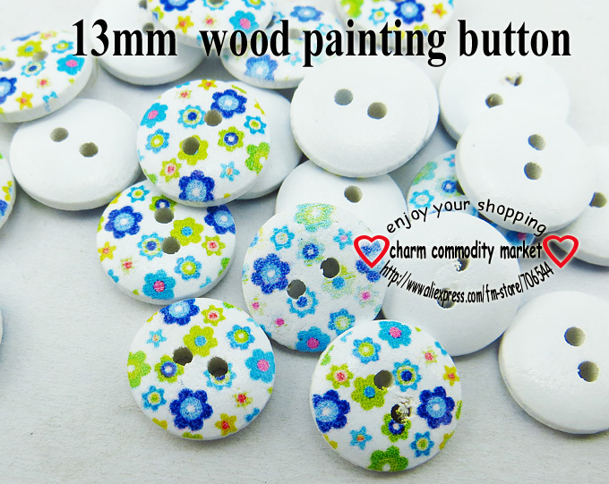 500PCS colour flower shape painting wooden 13MM buttons coat boots sewing clothes access ...