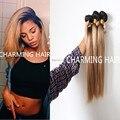 Nuevo estilo # 1b #27 blonde de miel oscuro raíz recta ombre 2 tono de color virgen humn brasileña armadura del pelo paquetes, dos tonos de cabello