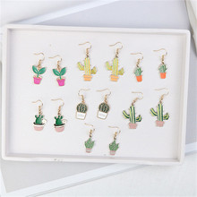 Korean Japan Cute Potted plant Cactus Fresh Simple Woman Girls Dangle Drop Earrings Fashion Jewelry-LAF