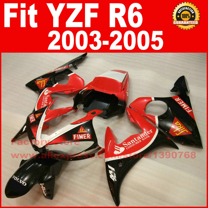 Body kit for YAMAHA R6 fairings 2003 2004 2005 red black Santander YZF fairing kit 03 04 05 body kits V9F5 mfs motor motorcycle part front rear brake discs rotor for yamaha yzf r6 2003 2004 2005 yzfr6 03 04 05 gold