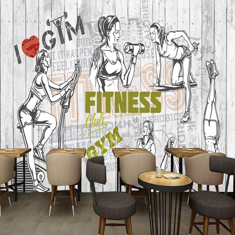 US $11.46 30% OFF|Custom photo wallpaper Fashion Vintage Silhouette Fitness  place Background Wall Paintings Bedroom Restaurant Gym Wallpaper mural-in  ...