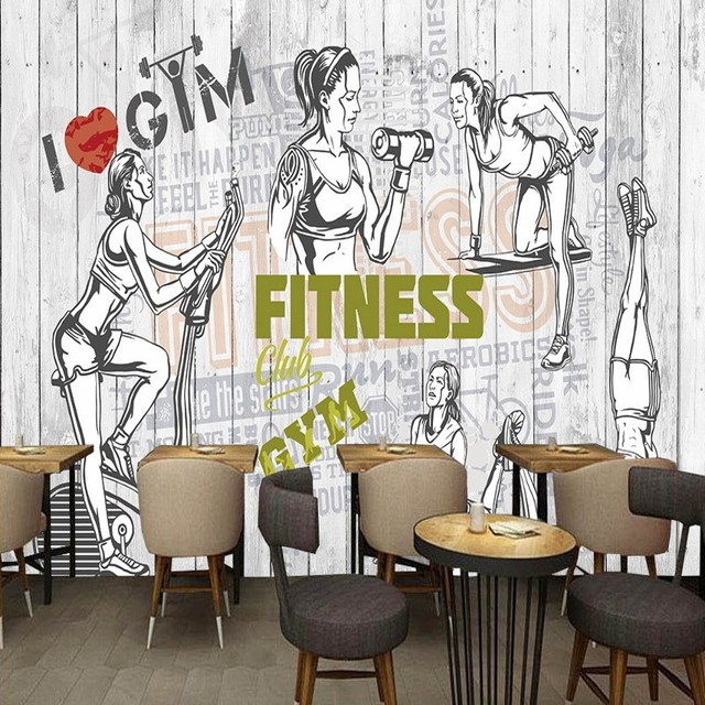 custom photo wallpaper fashion vintage silhouette fitness place background wall paintings bedroom restaurant gym wallpaper mural - Wall Paintings For Bedroom