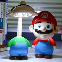 Super Mario Cute Cartoon LED Rechargeable Table Lights Night Lights Bedside Lamp For Children Ac 220V