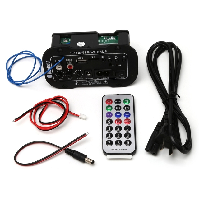 Free delivery 25W Car Bluetooth Subwoofer Hi-Fi Bass Amplifier Board Audio TF USB 220V/12V/24V