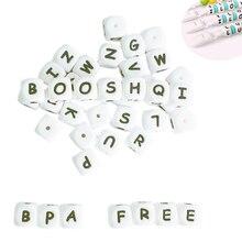 200-1000 шт Силиконовая буква алфавита бусины для DIY имя на соски цепи зажимы 12 мм жевательные бусины для Детское Колье Браслеты