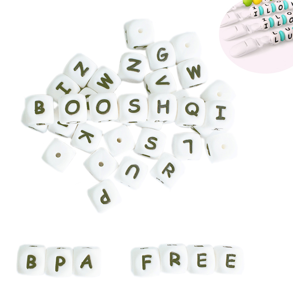 200-1000pcs Silicone Alphabet Letter Beads for DIY Name on Pacifier Chain Clips 12MM Chewing Beads for Baby Necklace Bracelets anniyo diy letter alphabet customise name necklace earrings for women hanging 5 letters tell me what name do you want 104706