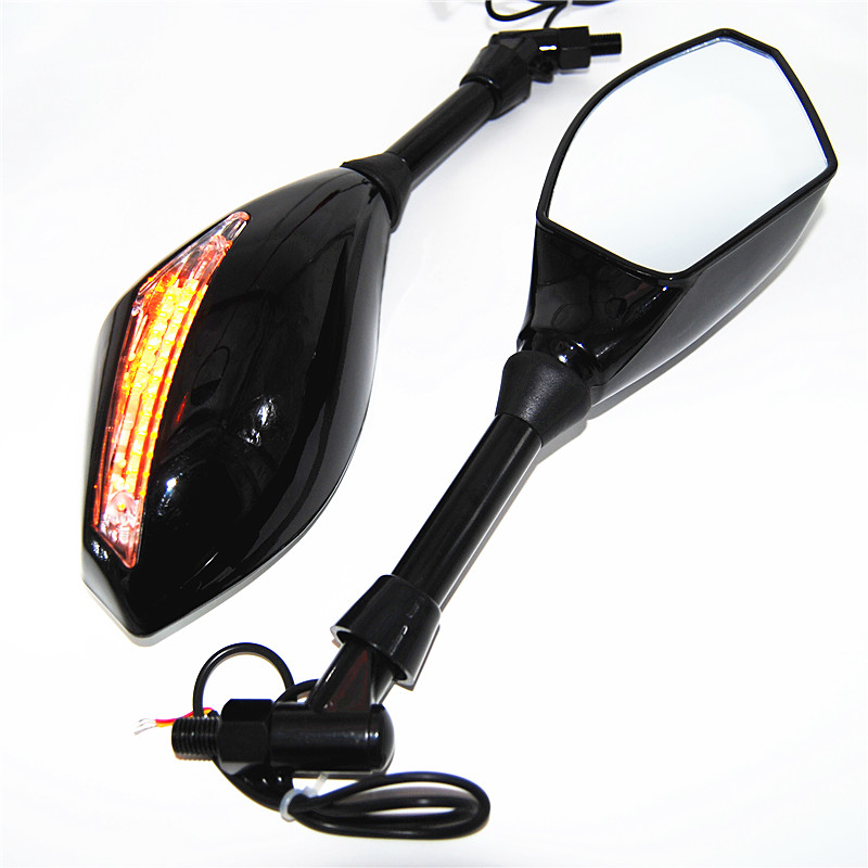 Motorcycle Integrated Universal LED Turn Signals Side Mirrors Rearview Amber Indicator Street Bike FORSuzuki FORHarley ...
