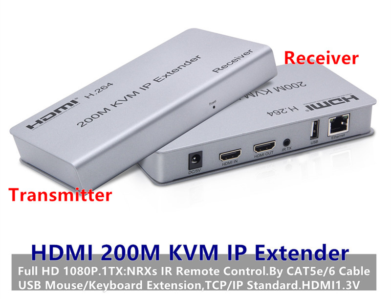 1080P HDMI KVM IP Extender Adapter 200m 1TXNRXs CAT5e6 Cable Connector For USB MouseKeyboard Extension DVD CCTV Free Shipping (7)