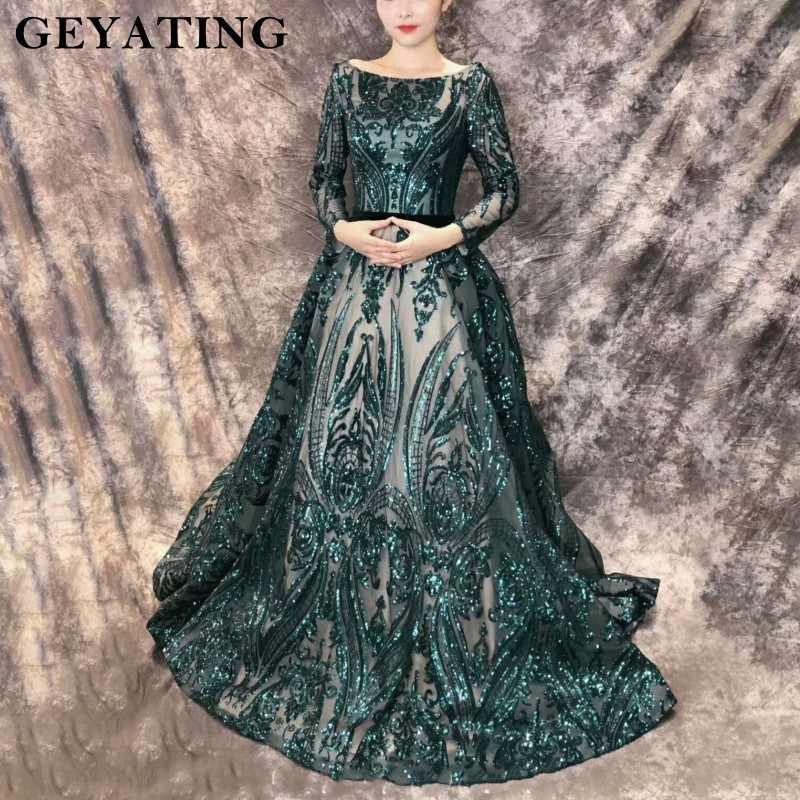 7b2b10f59394 ... Emerald Green Sequined Long Sleeves Evening Dress 2019 Saudi Arabic  Muslim Women Formal Gowns Dubai Kaftan ...