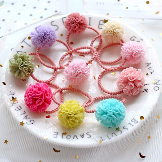 2pc lot Girls  Cute Tulle Pom Pom Hair Tie Bands Ropes Ponytail Holder Hair  Clip Barrette Hair Accessories HT063 56201e889c0