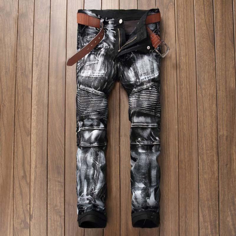 ФОТО New Men Printing Nightclubs Shiny Silver Jeans,Famous Brand Fashion Designer Denim Jeans Men,Plus-Size 28-38, Casual Biker Jeans