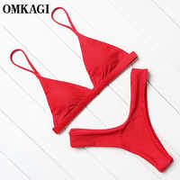 Omkagi marca maiô feminino sexy push up micro biquinis conjunto de natação beachwear verão biquíni brasileiro 2019