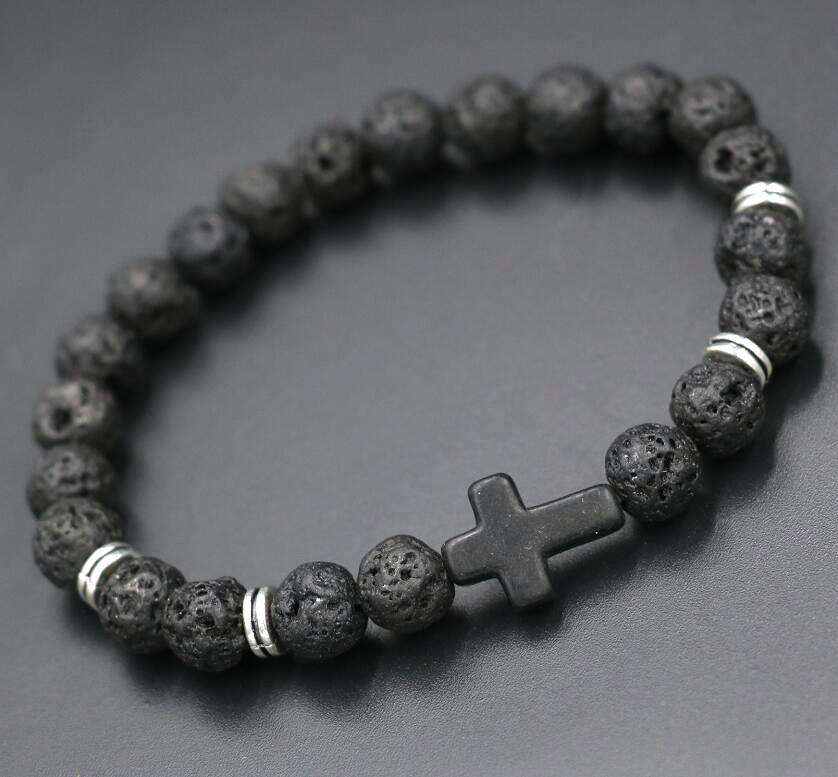Trendy Personalized Black Lava Beads Stone Bead Cross Bracelets Women Men Jewelry Natural Bangles Pulseras In From