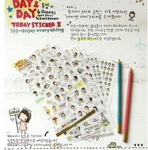 Korea Style Creative Stickers Cute Girl Series DIY Scrapbook PVC Sticker For Diary Phone Paper Sticker Kids Gift Album  Stickers